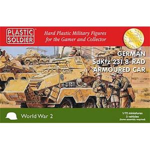 PLASTIC SOLDIER CO: 1/72nd German SdKfz 231 8 Rad Heavy Armoured Car (3 per scatola)
